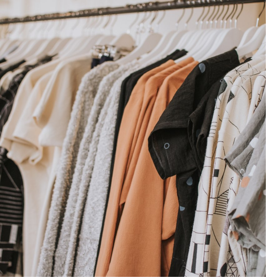 Blouses on a rack at The Difference women's clothing boutique